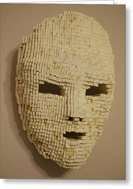 Facades Sculptures Greeting Cards - Pixelated Face Greeting Card by Daniel P Cronin