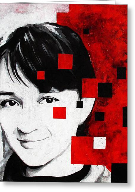 Photorealistic Paintings Greeting Cards - Pixelated self portrait Greeting Card by Adriana Vasile