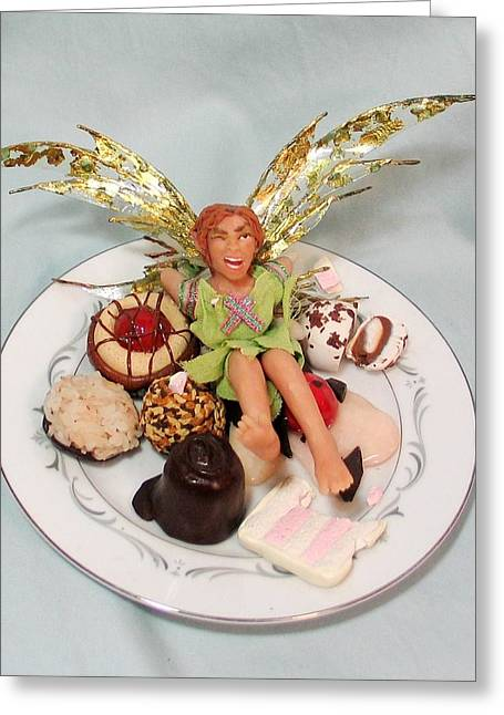 Fairies Sculptures Greeting Cards - Pixie Fit - Cherry Crush Greeting Card by Tamara Stickler