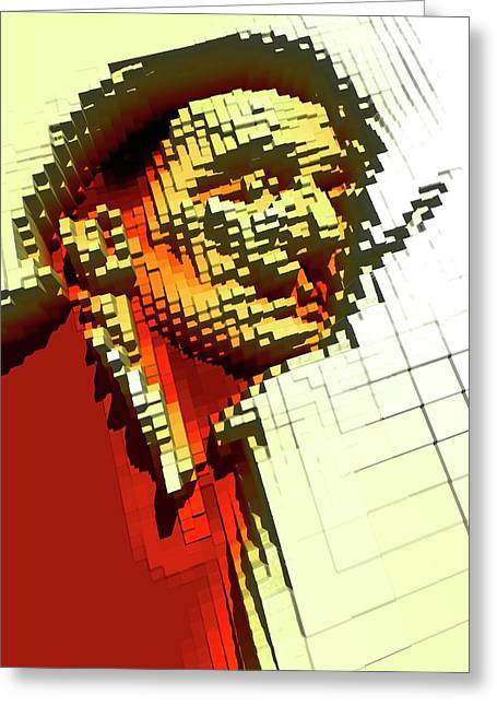 Pixilated Face Greeting Card by Victor Habbick Visions