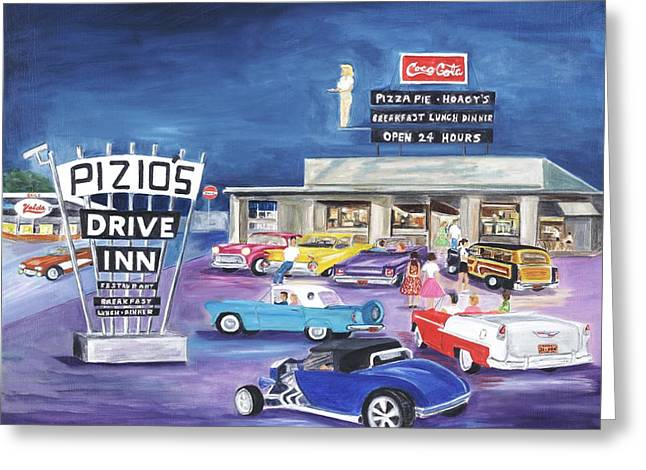 Station Wagon Greeting Cards - Pizios - Happy Days Greeting Card by Linda Cabrera