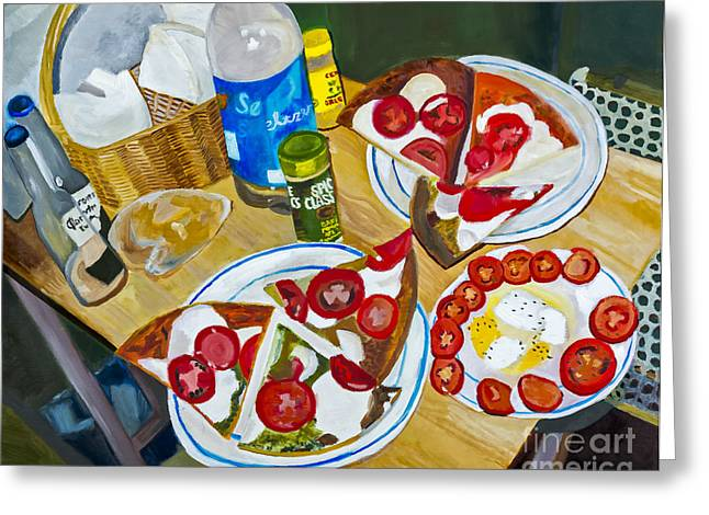Mozzarella Greeting Cards - Pizza by Rachel Sobota Greeting Card by Sheldon Kralstein