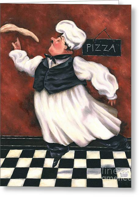 Vickie Wade Paintings Greeting Cards - Pizza Chef Greeting Card by Vickie Wade