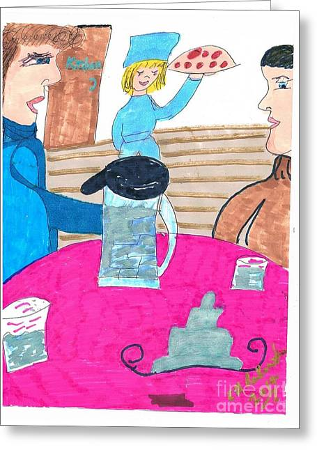 Waitress Mixed Media Greeting Cards - Pizza for Lunch Greeting Card by Elinor Rakowski
