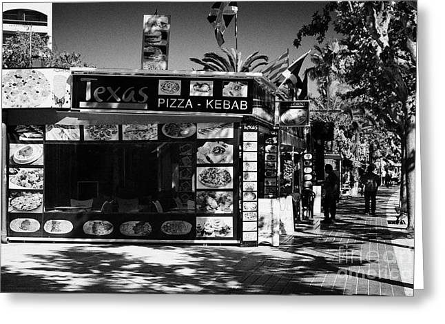 Pizza Kebab Shop In The Spanish Tourist Resort Of Salou Catalonia Spain Greeting Card by Joe Fox