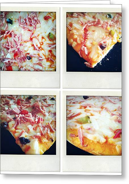 Snacking Greeting Cards - Pizza Greeting Card by Les Cunliffe