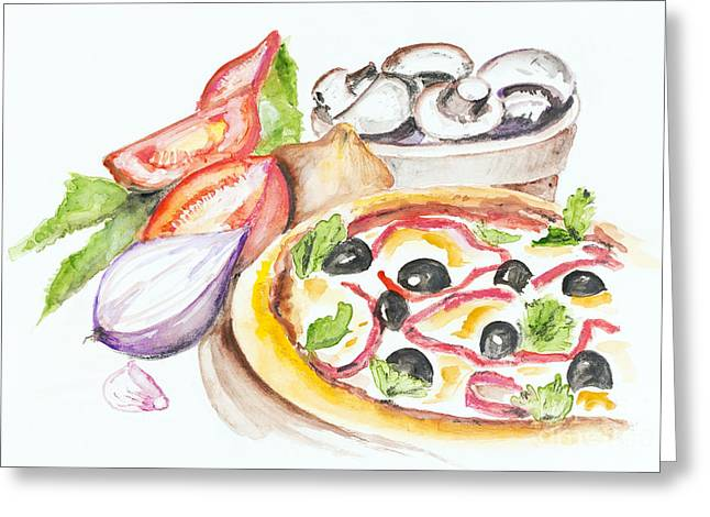 Pizza Margarita Greeting Card by Irina Gromovaja