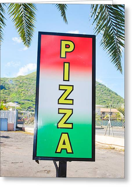Billboard Greeting Cards - Pizza sign Greeting Card by Tom Gowanlock