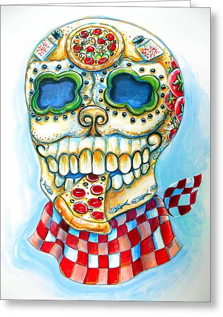 Italian Restaurants Greeting Cards - Pizza Sugar Skull Greeting Card by Heather Calderon