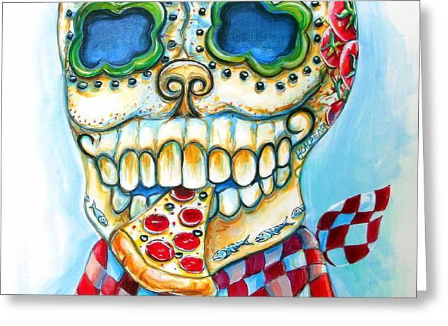 Pizza Sugar Skull Greeting Card by Heather Calderon