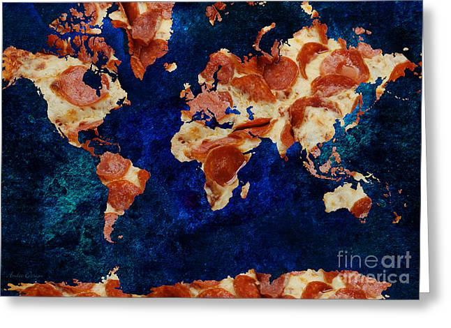 Italian Restaurant Greeting Cards - Pizza World 2 Greeting Card by Andee Design