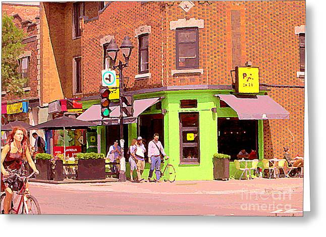 French Open Paintings Greeting Cards - Pizzadelic Sidewalk Cafe Terrace Sunny Day Biking In The Latin Quarter Montreal City Scene C Spandau Greeting Card by Carole Spandau