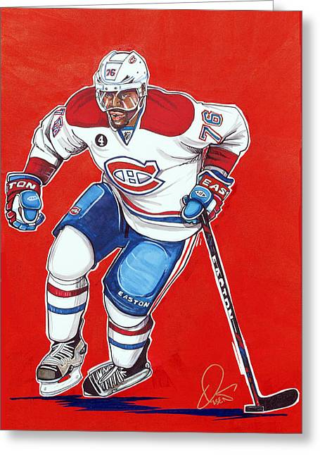 Montreal Hockey Art Greeting Cards - P.K. Subban of the Montreal Canadiens  Greeting Card by Dave Olsen