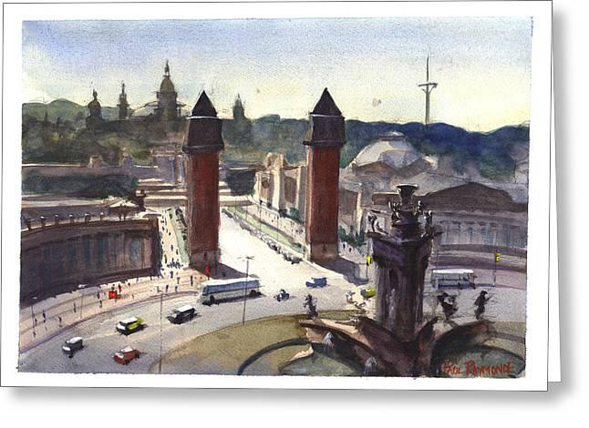Catalunya Paintings Greeting Cards - Placa Espana Barcelona Greeting Card by Paul Raymonde