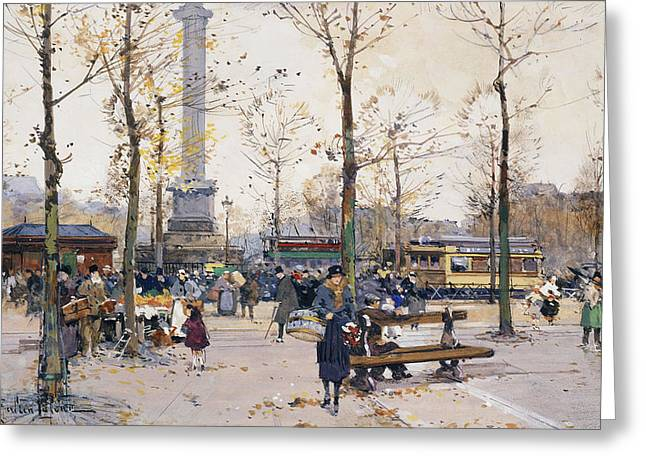Park Benches Paintings Greeting Cards - Place de la Bastille Paris Greeting Card by Eugene Galien-Laloue