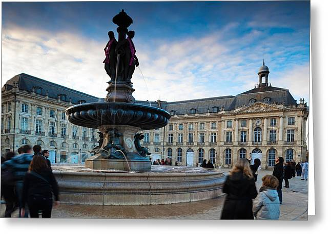 Running Water Greeting Cards - Place De La Bourse Buildings At Dusk Greeting Card by Panoramic Images