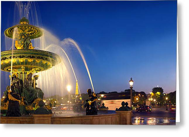 Spraying Greeting Cards - Place De La Concorde At Dusk, Paris Greeting Card by Panoramic Images