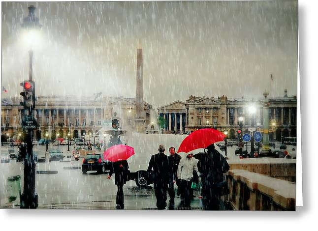 Paris In Lights Greeting Cards - Place de la Concorde Greeting Card by Diana Angstadt