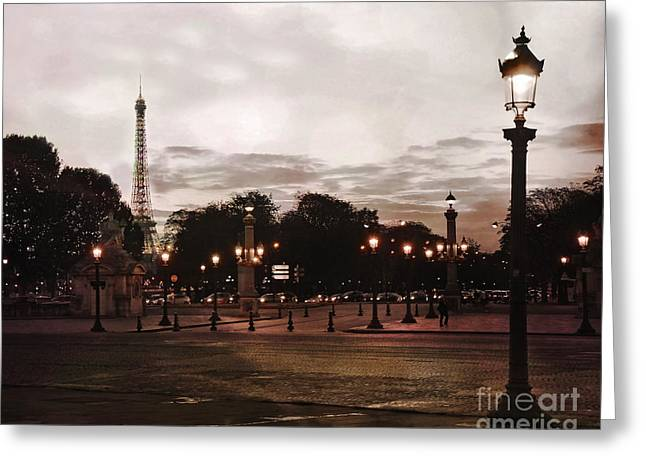 Paris Place De La Concorde Sepia Art - Paris Eiffel Tower View Place De La Concorde Street Lamps  Greeting Card by Kathy Fornal