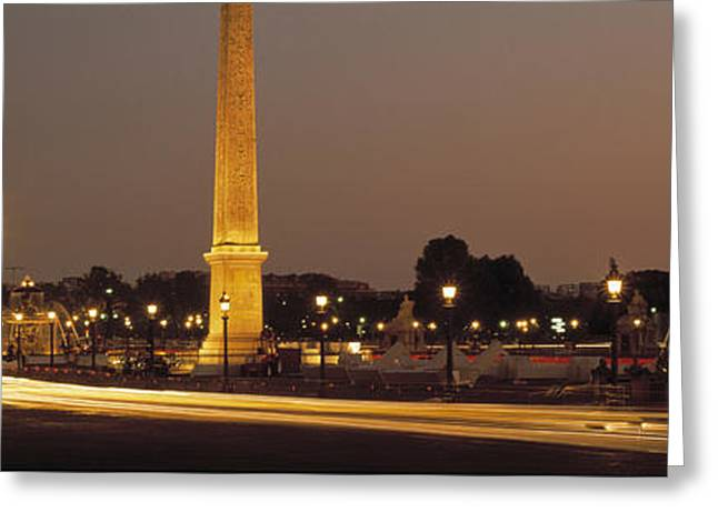 Night Lamp Greeting Cards - Place De La Concorde Paris France Greeting Card by Panoramic Images
