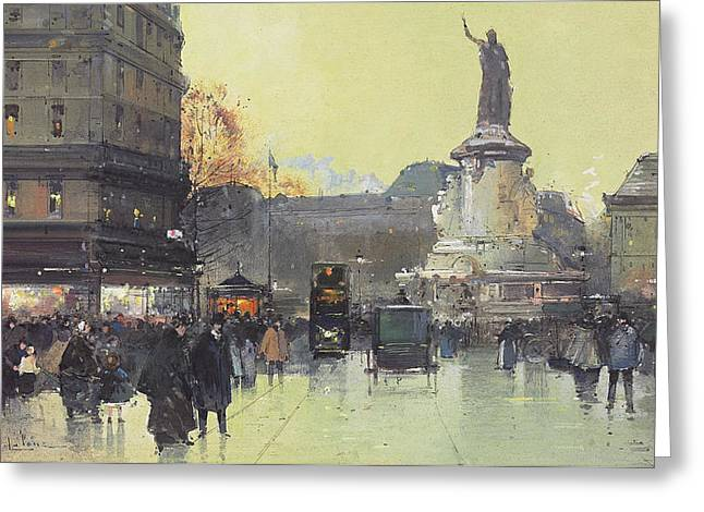 Places Greeting Cards - Place de la Republique Greeting Card by Eugene Galien-Laloue