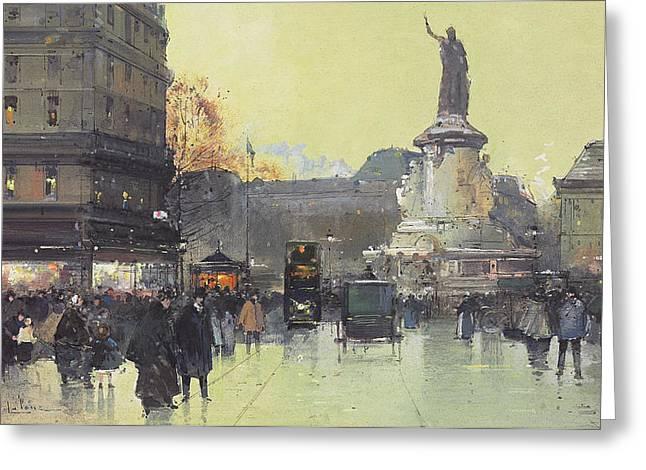 Stature Greeting Cards - Place de la Republique Greeting Card by Eugene Galien-Laloue