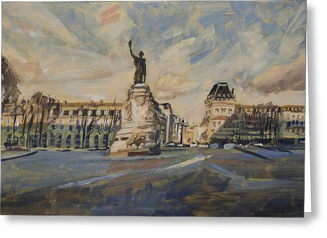Rally Greeting Cards - Place de la Republique France Greeting Card by Nop Briex