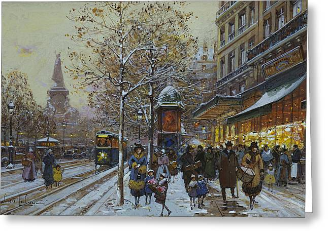 Places Greeting Cards - Place de la Republique Paris Greeting Card by Eugene Galien-Laloue