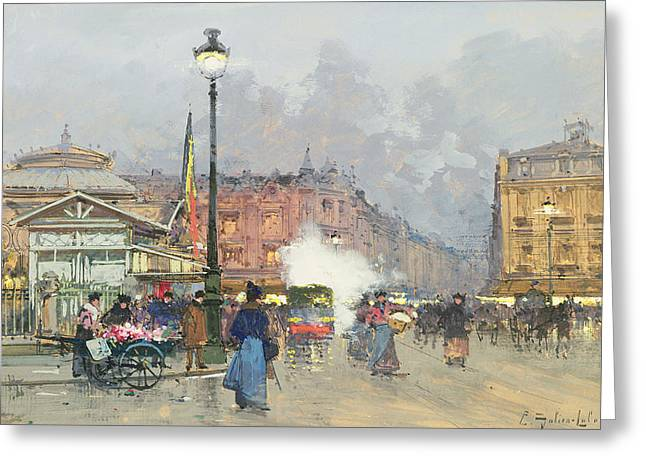 Century Old Greeting Cards - Place de lOpera Paris Greeting Card by Eugene Galien-Laloue