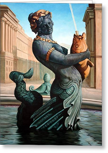 Mermaids Sculptures Greeting Cards - Place du la Concorde Greeting Card by Kathleen English-Barrett