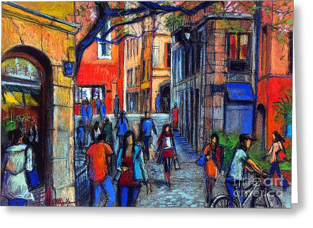 French Doors Greeting Cards - Place Du Petit College In Lyon Greeting Card by Mona Edulesco