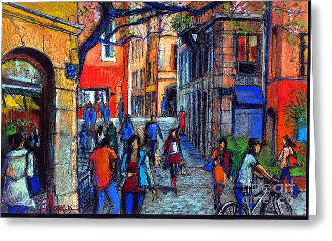 Urban Buildings Pastels Greeting Cards - Place Du Petit College In Lyon Greeting Card by Mona Edulesco