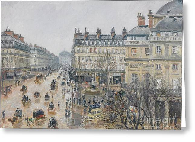Drizzle Greeting Cards - Place du Theatre Francais    Paris  Rain Greeting Card by Camille Pissarro