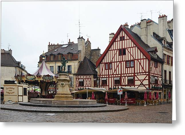 Table Wine Greeting Cards - Place Francois Rude in Dijon France Greeting Card by Carla Parris
