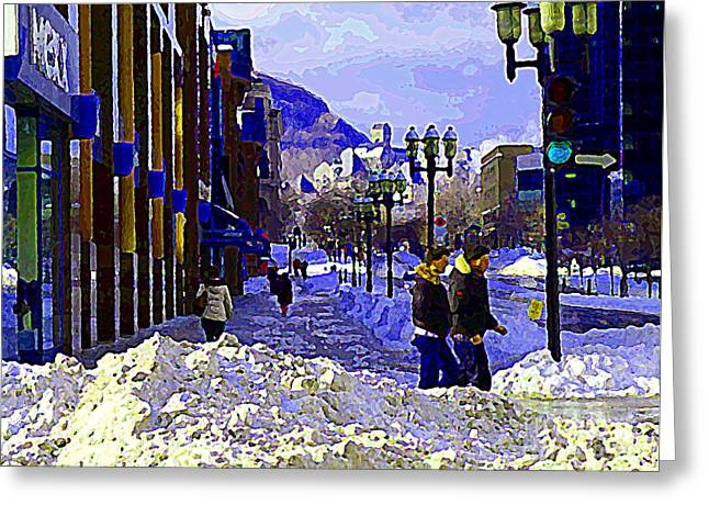 St.catherine Street Greeting Cards - Place Montreal Trust St Catherine And Mcgill College Wintry Walk From Campus City Scene C Spandau Greeting Card by Carole Spandau