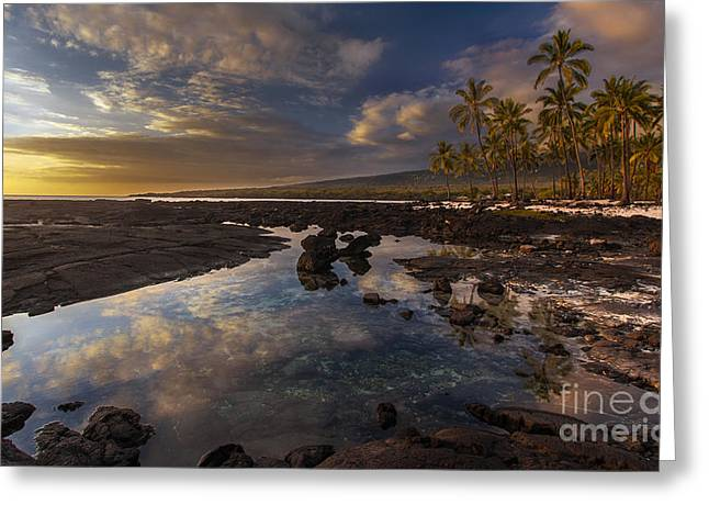 Place Of Refuge Sunset Reflection Greeting Card by Mike Reid