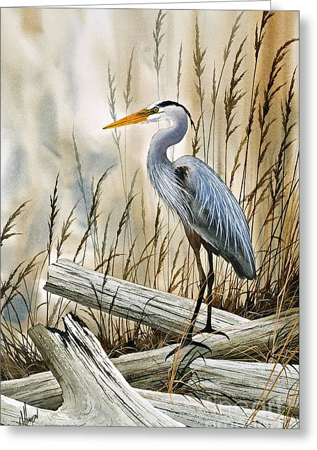 Wildlife Refuge. Paintings Greeting Cards - Place of the Blue Heron Greeting Card by James Williamson