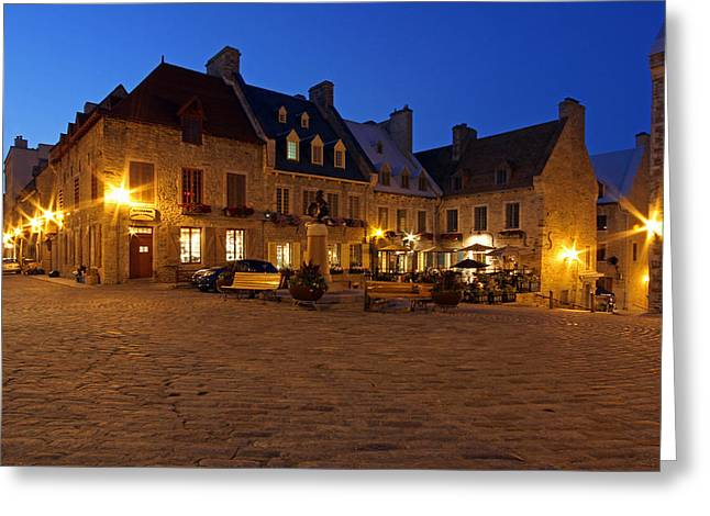 Victoire Greeting Cards - Place Royale in Quebec City Canada Greeting Card by Juergen Roth