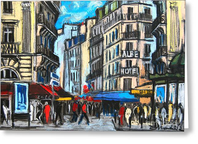 Urban Buildings Pastels Greeting Cards - Place Saint-michel In Paris Greeting Card by Mona Edulesco
