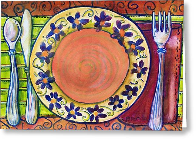 Plates Greeting Cards - Place Setting Art  Greeting Card by Blenda Studio