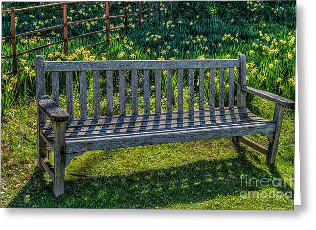 Park Benches Digital Art Greeting Cards - Place to Rest Greeting Card by Adrian Evans
