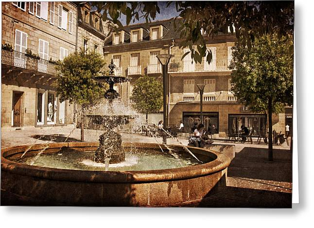 South West France Greeting Cards - Place Toulzac Fountain - Brive la Gaillarde Greeting Card by Barry O Carroll