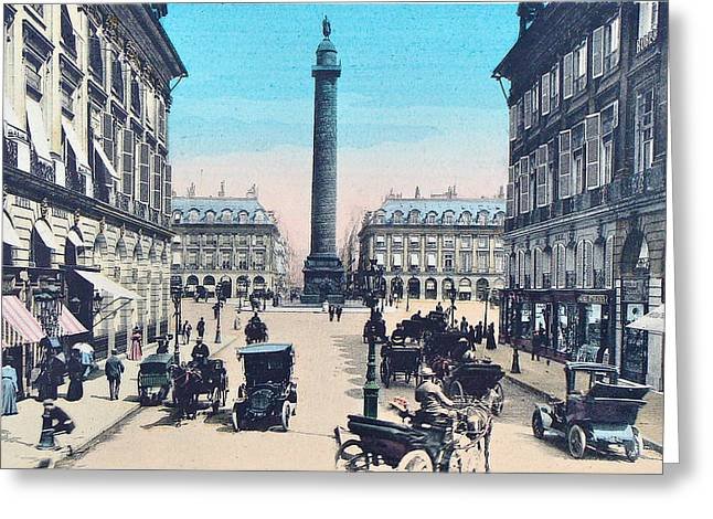 Belle Epoque Mixed Media Greeting Cards - Place Vendome Paris 1910 Greeting Card by Ira Shander