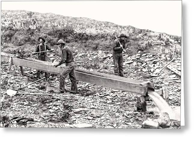 Prospector Greeting Cards - PLACER GOLD MINING c. 1889 Greeting Card by Daniel Hagerman