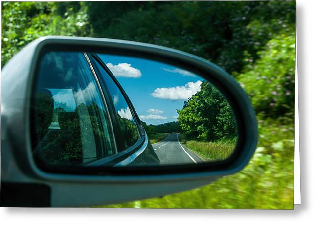 Rear View Mirror Greeting Cards - Places I Have Been Greeting Card by Lara Ellis
