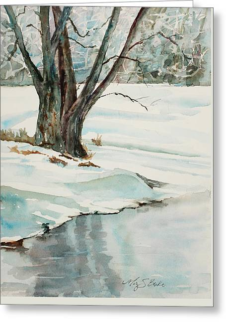 Placid Winter Morning Greeting Card by Mary Benke