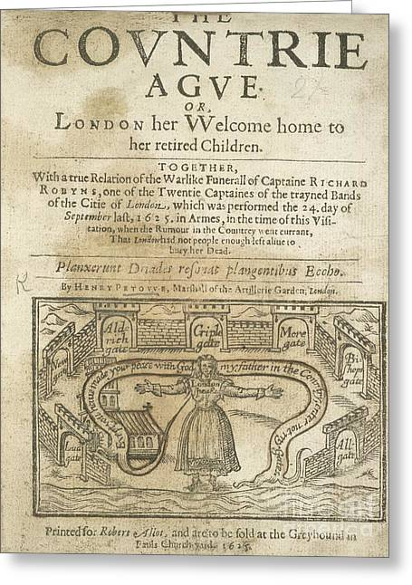 Critical Illustration Greeting Cards - Plague Pamphlet, 1626 Greeting Card by British Library