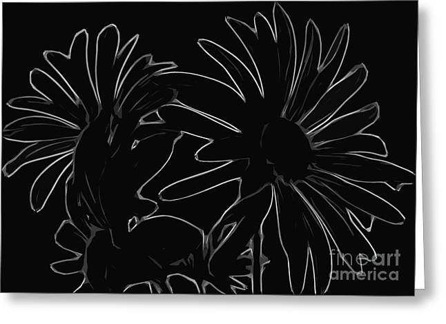 Flowers On Line Greeting Cards - Plain And Simple Is Still Pretty Black and White Flower Greeting Card by Adri Turner