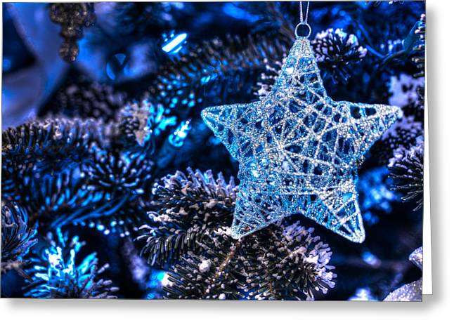 Star Of Bethlehem Greeting Cards - Blue Christmas Greeting Card by Shelley Neff