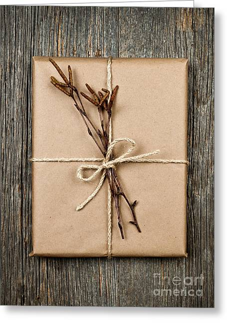 Twine Greeting Cards - Plain gift with natural decorations Greeting Card by Elena Elisseeva